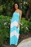White And Mint Chevron Maxi Dress