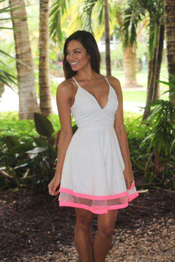 White And Neon Pink Short Dress