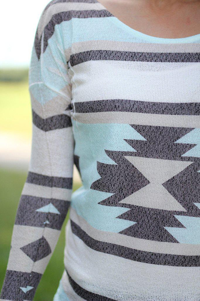 long sleeve top with aztec print