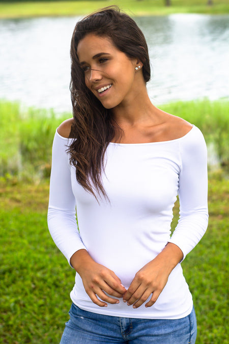 White Boat Neck Top with 3.4 Sleeves