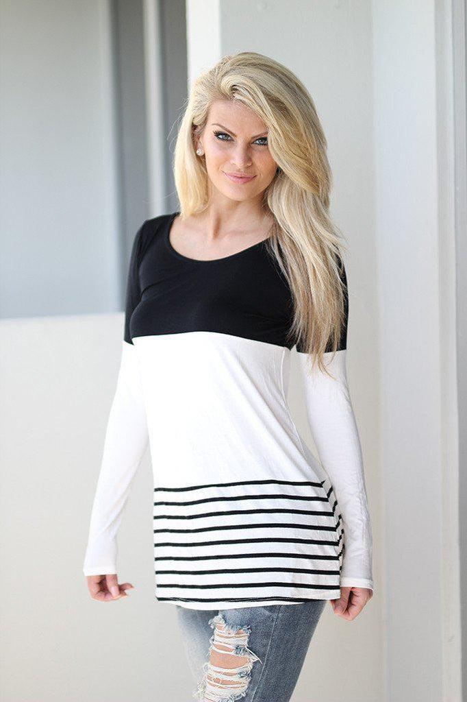 black and white cute top