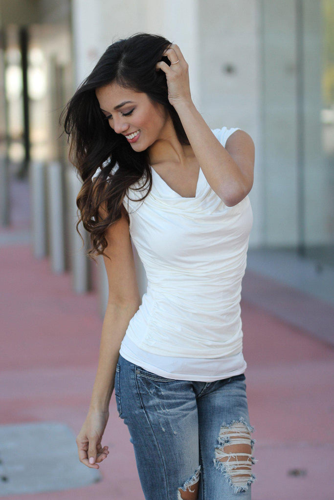 white cowl neck ruched top