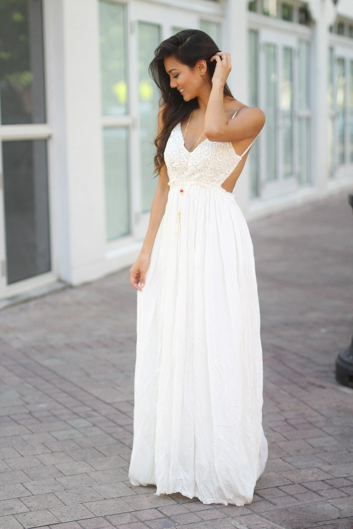 White Lace Maxi Dress with Open Back and Frayed Hem