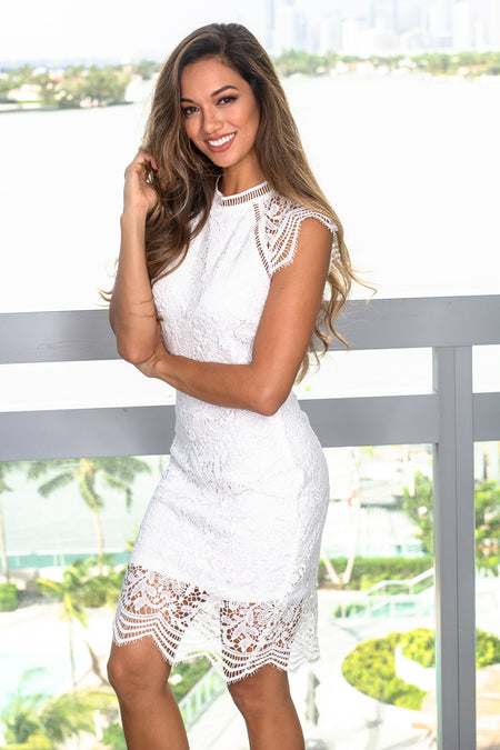 White Crochet Short Dress