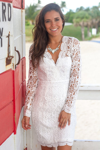 White Crochet Short Dress with Long Sleeves