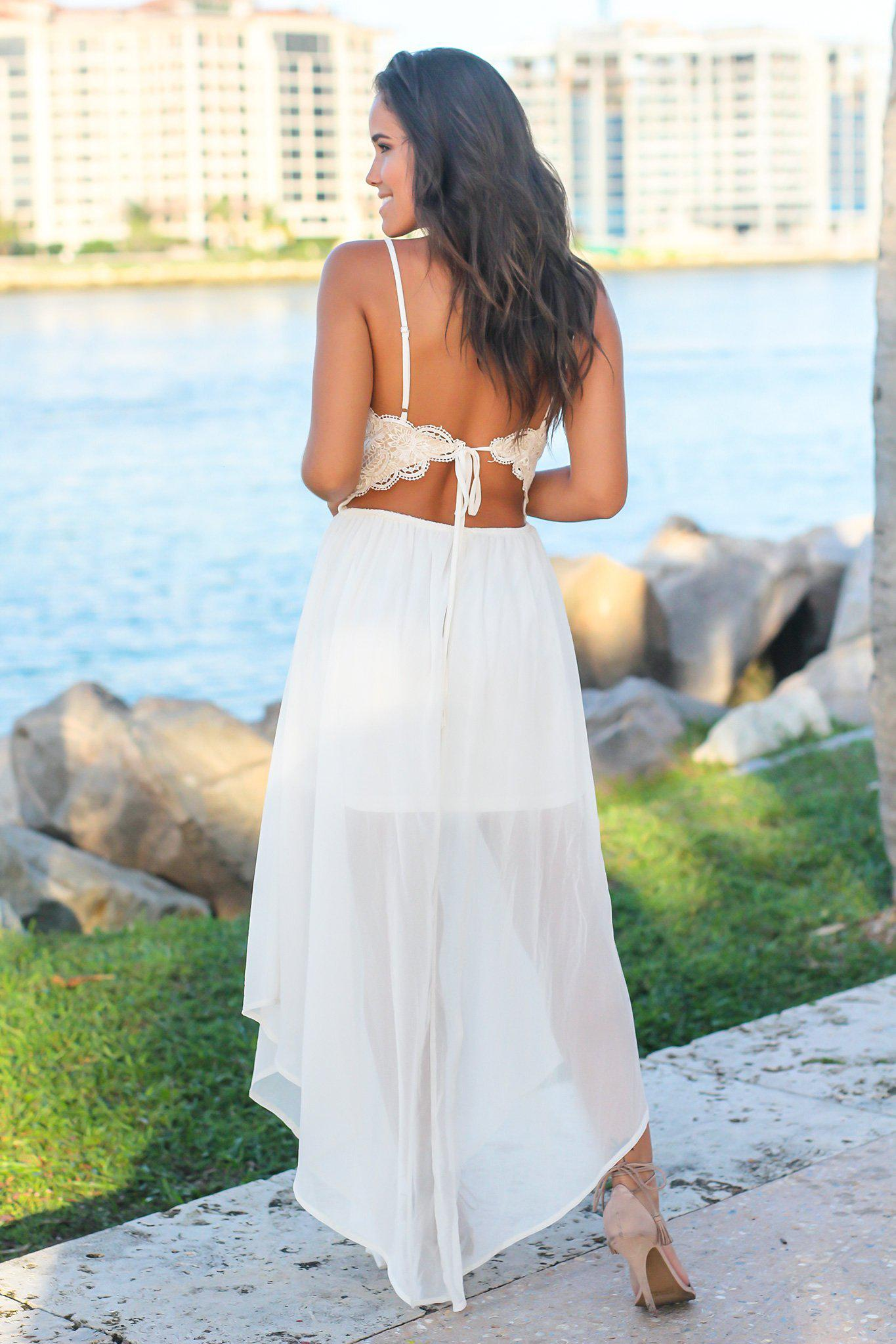 White Crochet Top Maxi Dress with Open Back and Slits