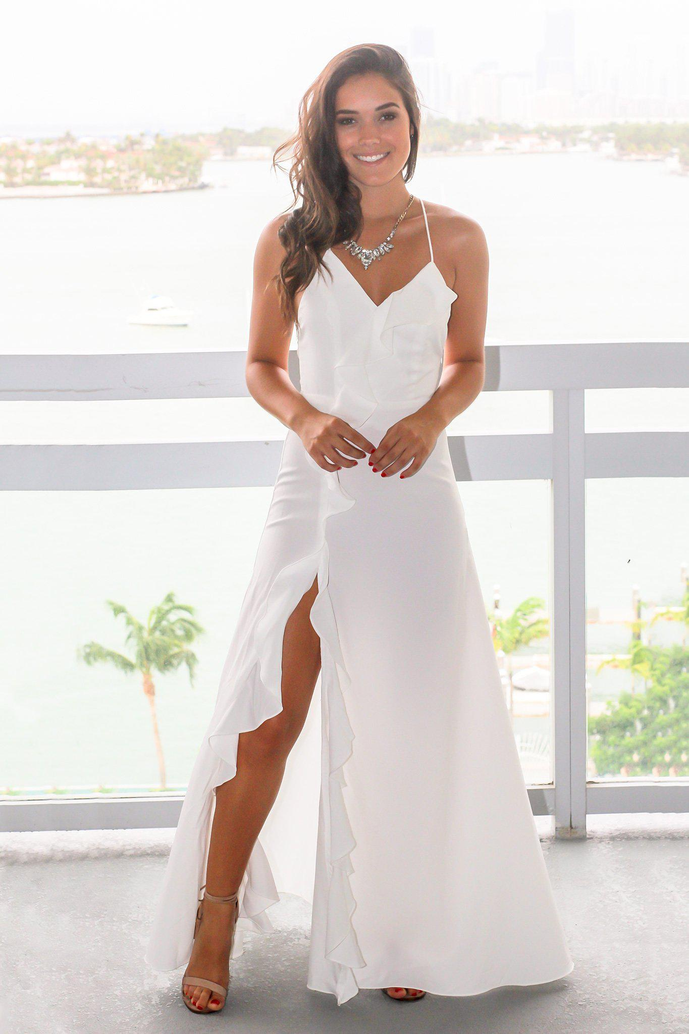 b09a6a5a47 White Ruffled Maxi Dress with Lace Up Back
