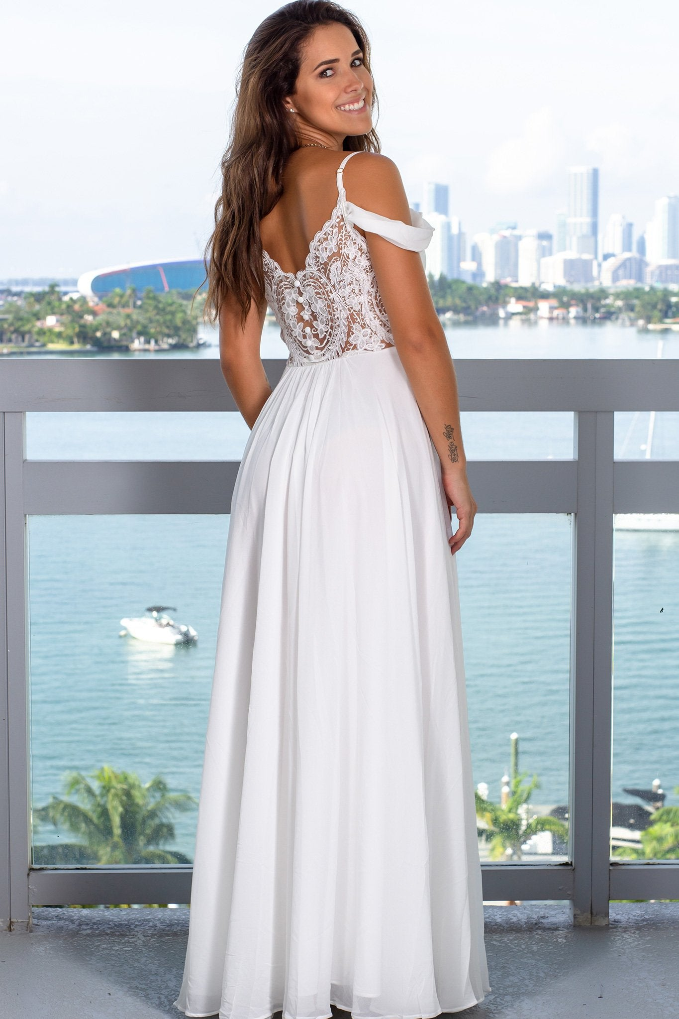 Ivory Off Shoulder Maxi Dress with Lace Back
