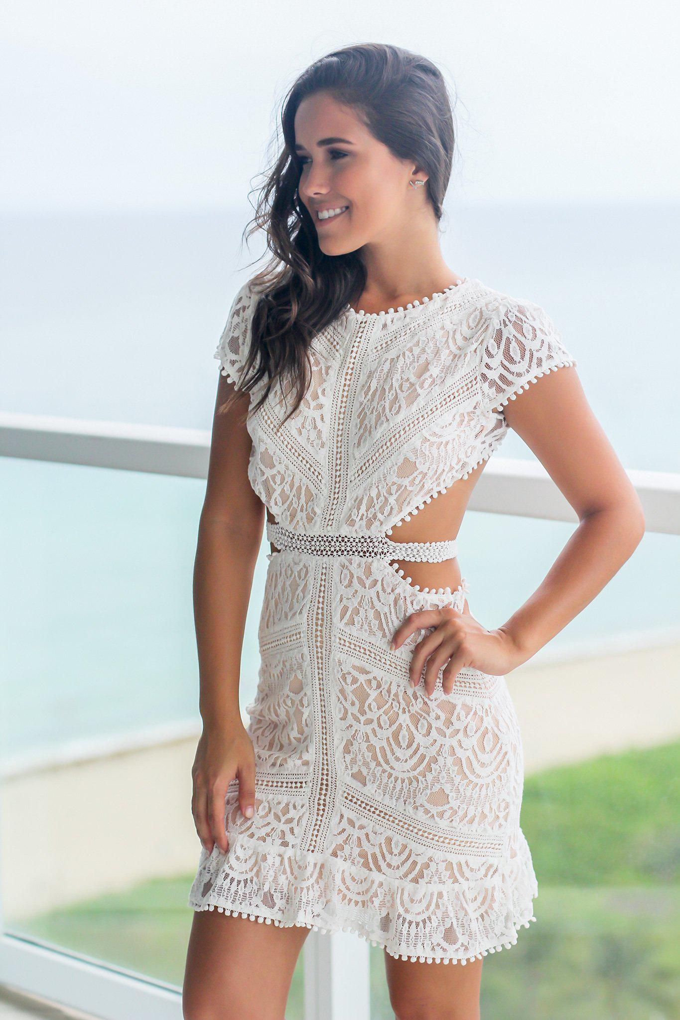 Off White Lace Short Dress with Open Back  a0132ae33668