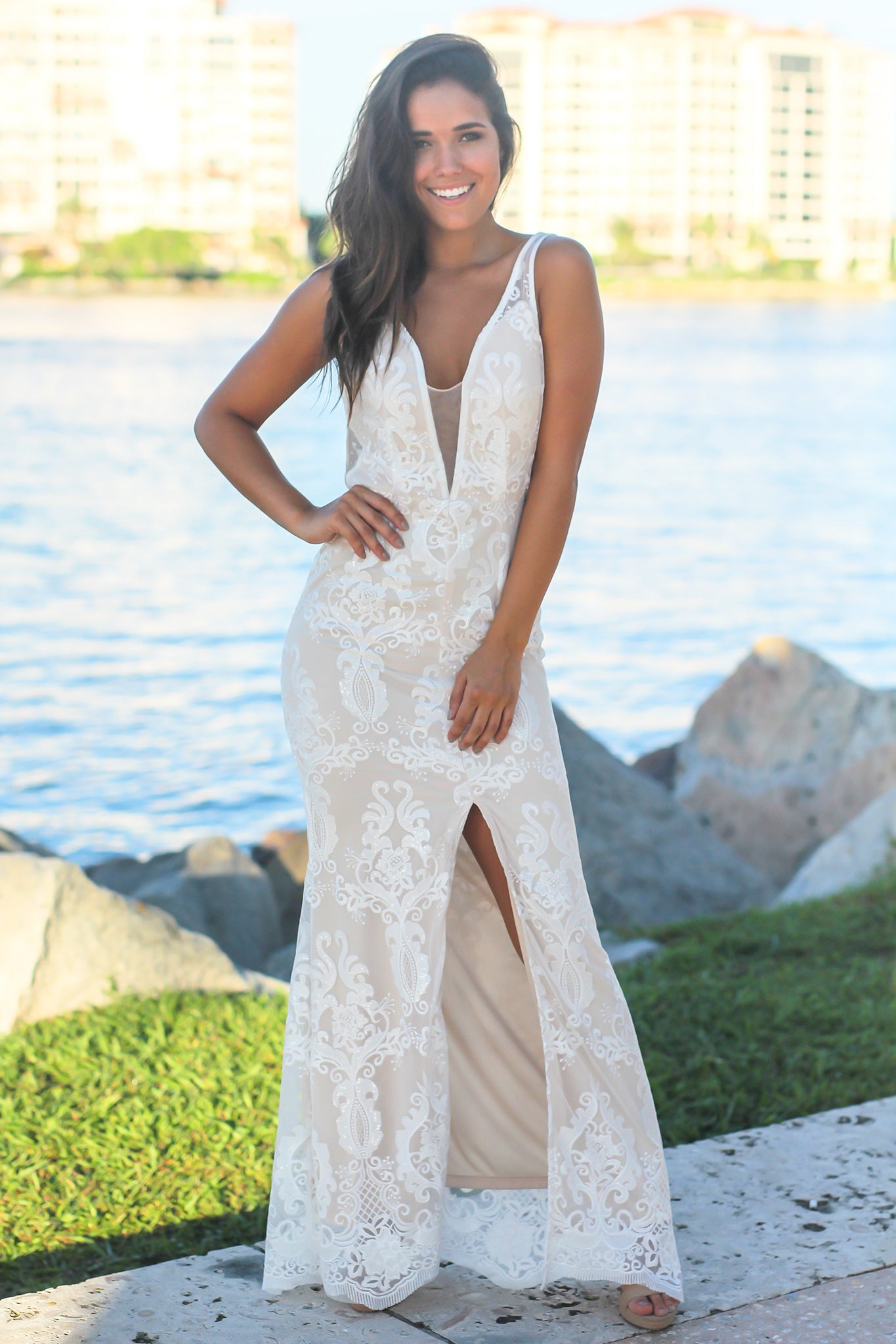 White Embroidered Maxi Dress with Mesh Detail