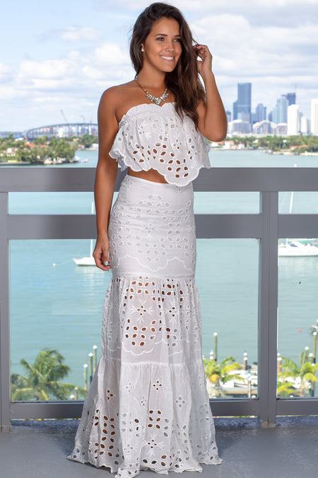White Embroidered Skirt Set