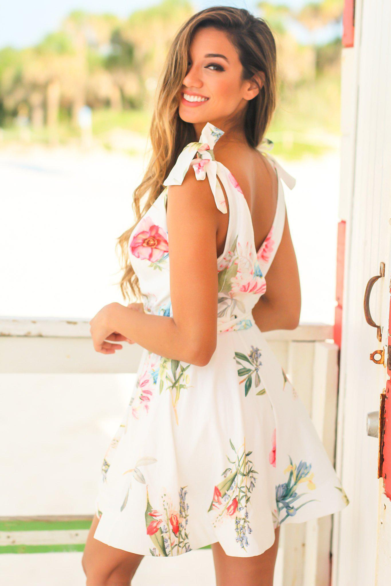 White Floral Flare Short Dress