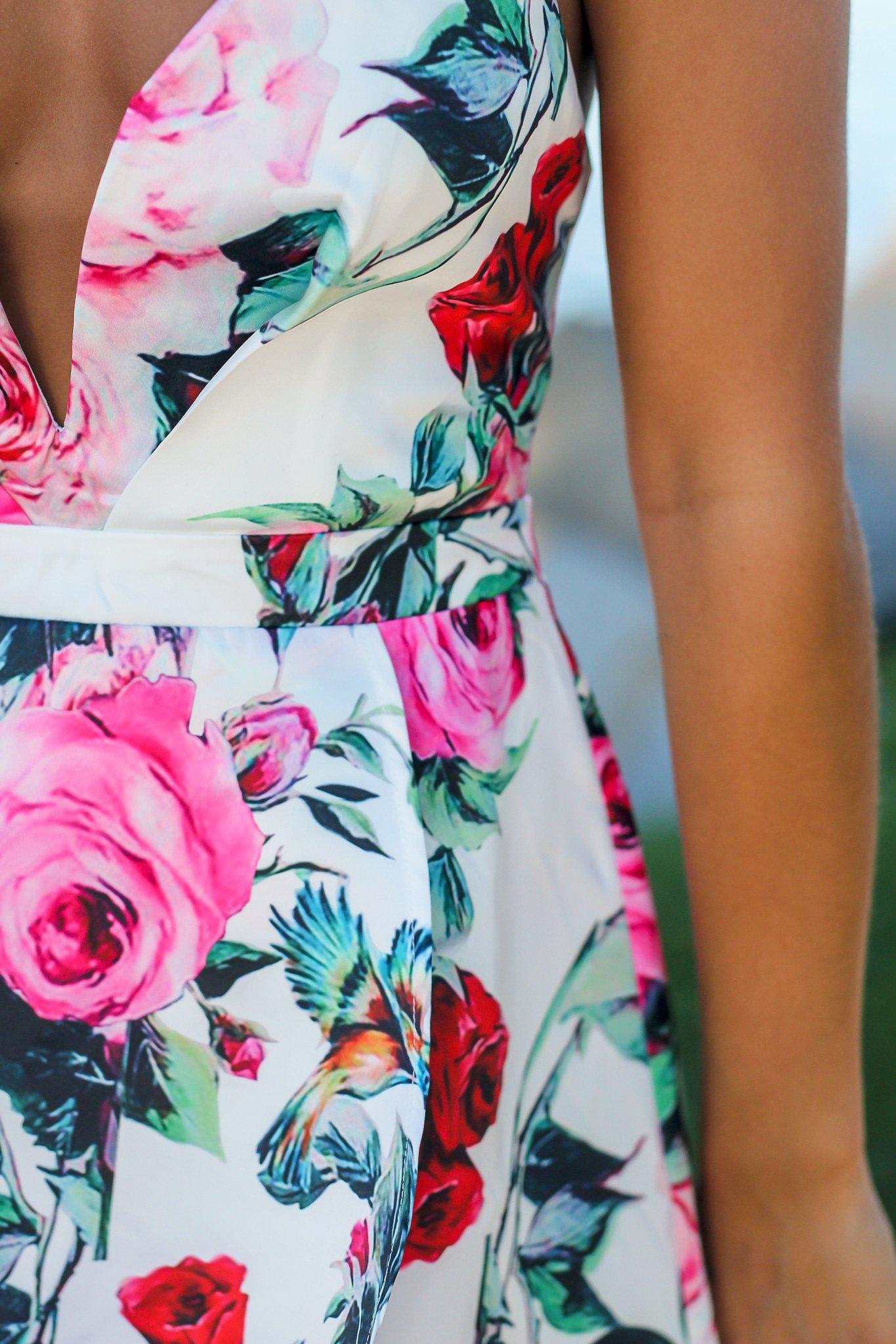 White Floral High Low Dress