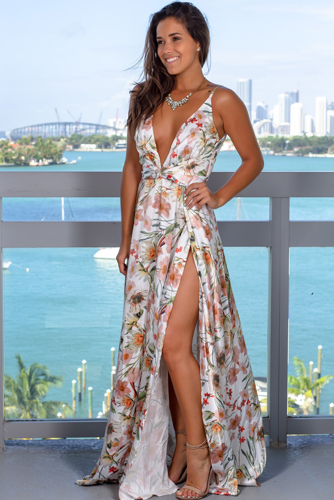 White Floral Maxi Dress with Slits