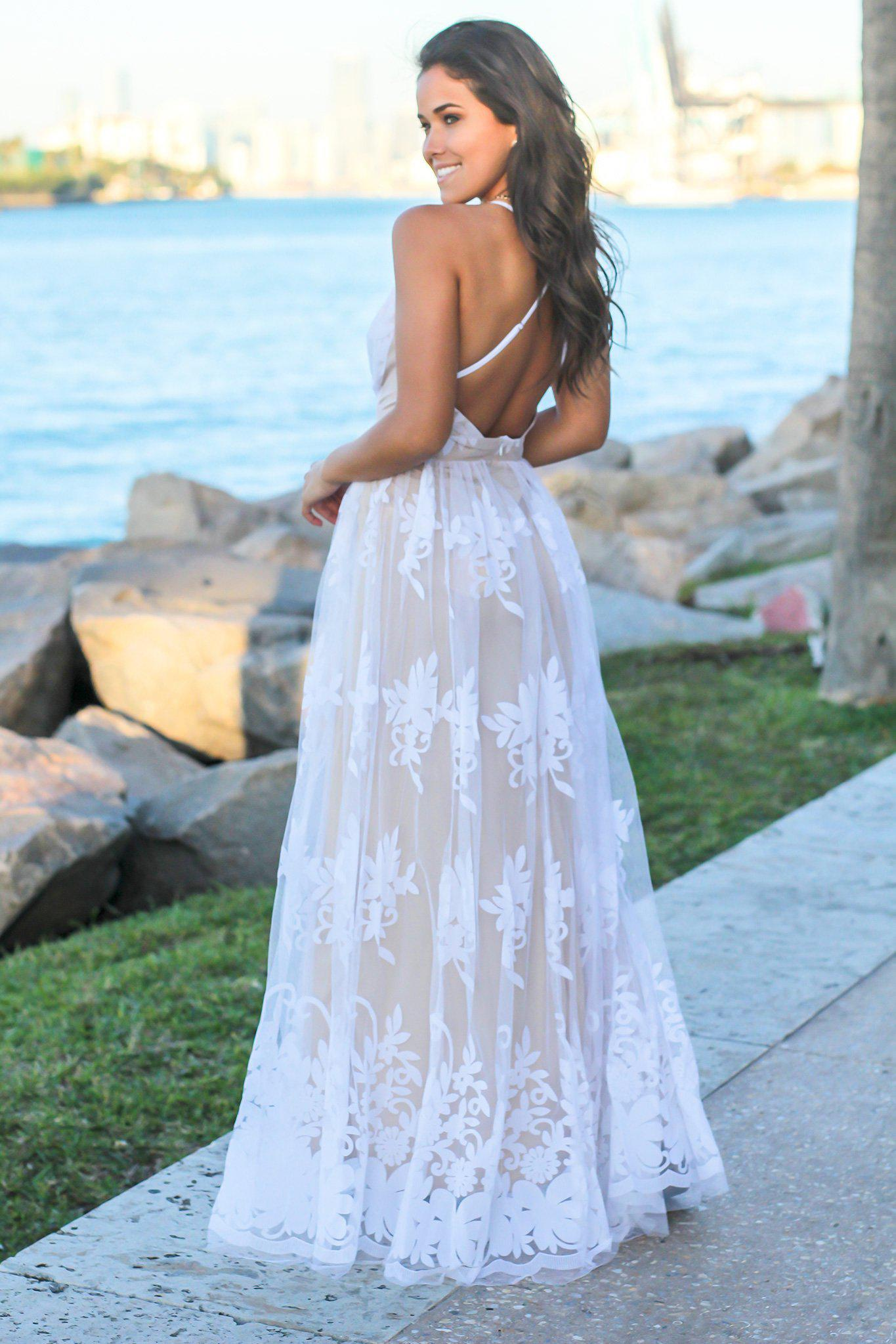 White Floral Tulle Maxi Dress with Criss Cross Back