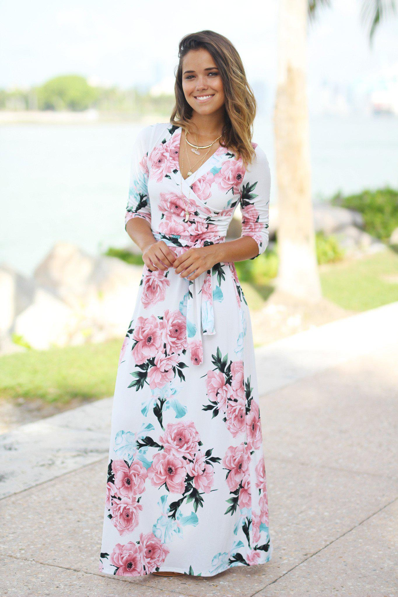 Ivory Floral Wrap Maxi Dress Maxi Dresses Saved By The