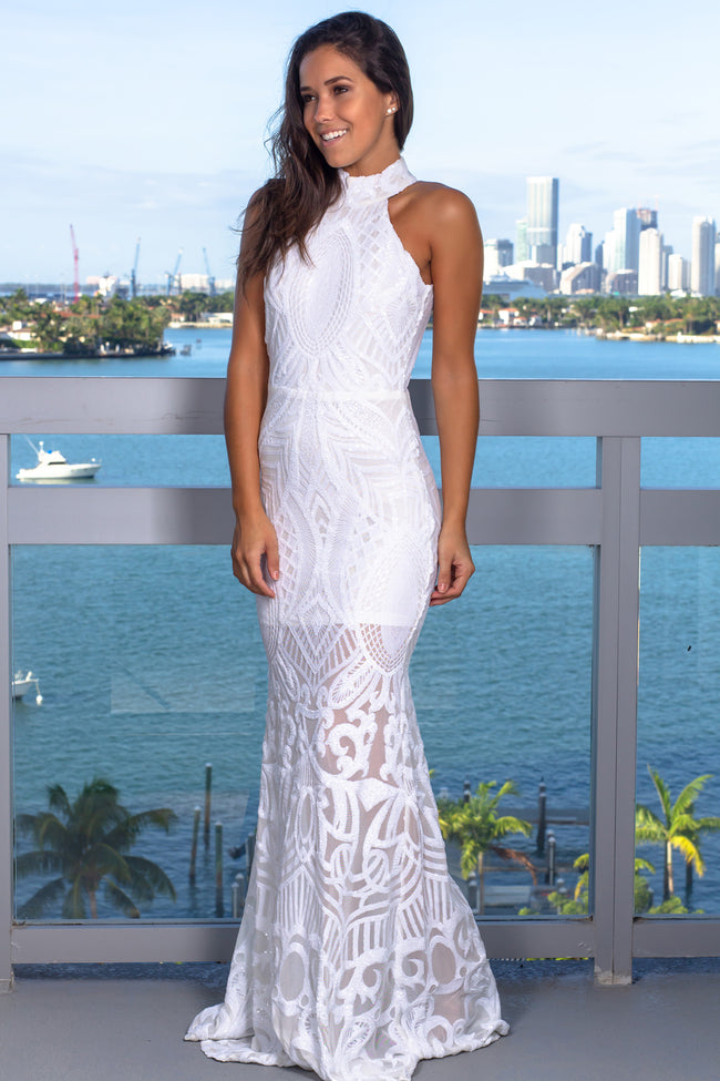 White Halter Neck Sequin Maxi Dress