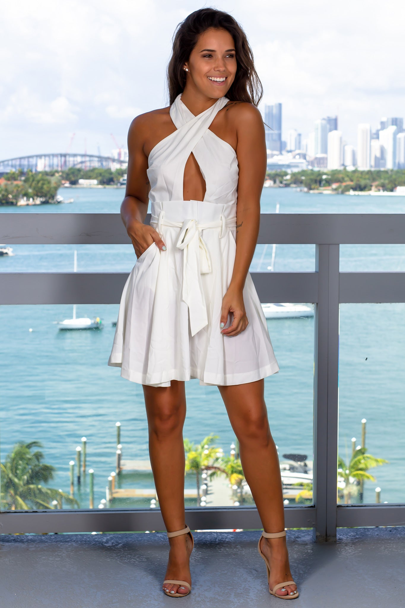 White Halter Neck Short Dress
