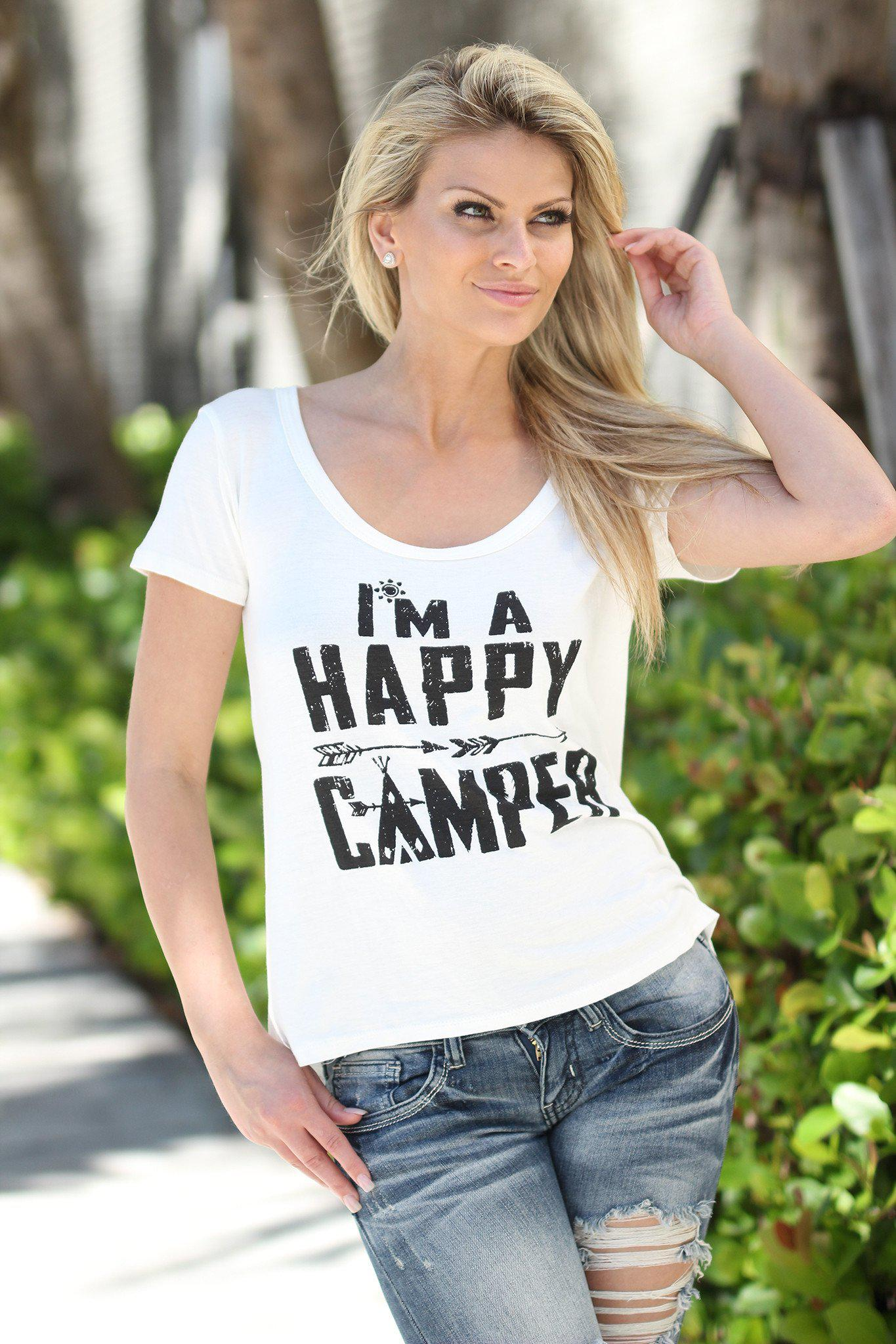 White Happy Camper Tee