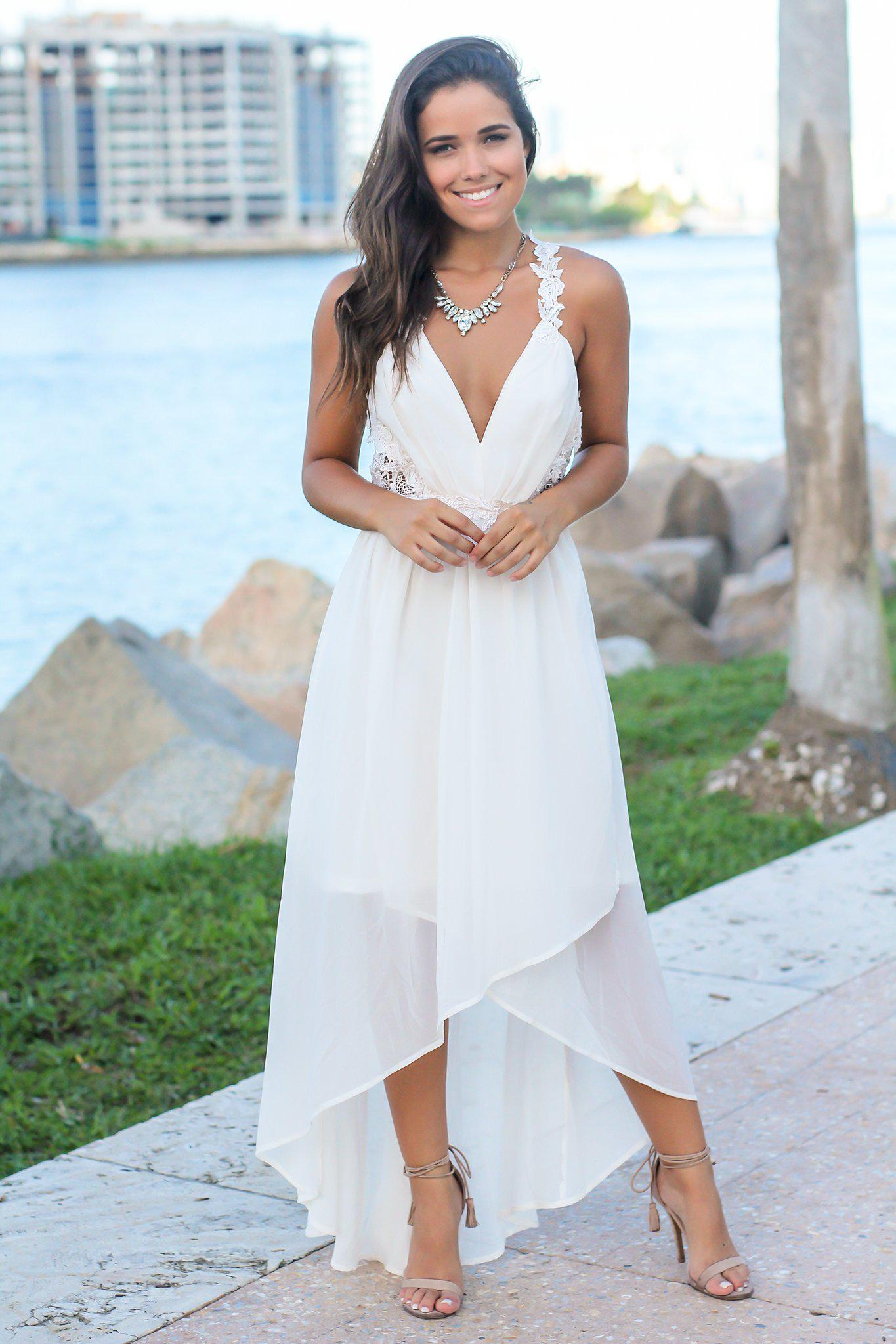 White High Low Dress with Crochet Cut Outs