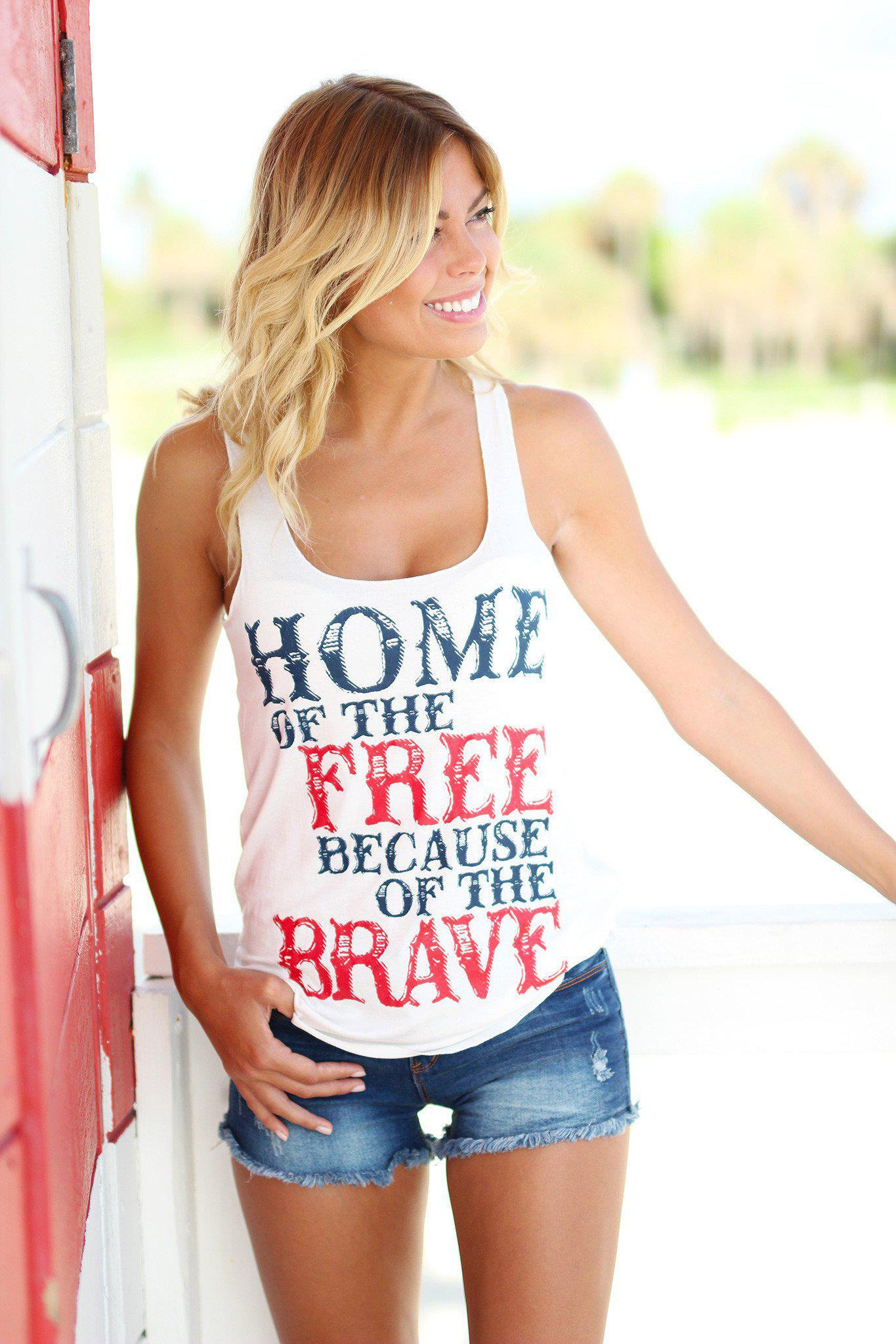 "White ""Home of The Free"" Tank Top"