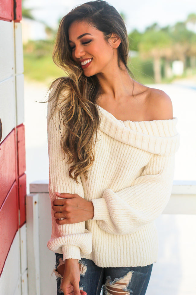 White Knit Off Shoulder Sweater