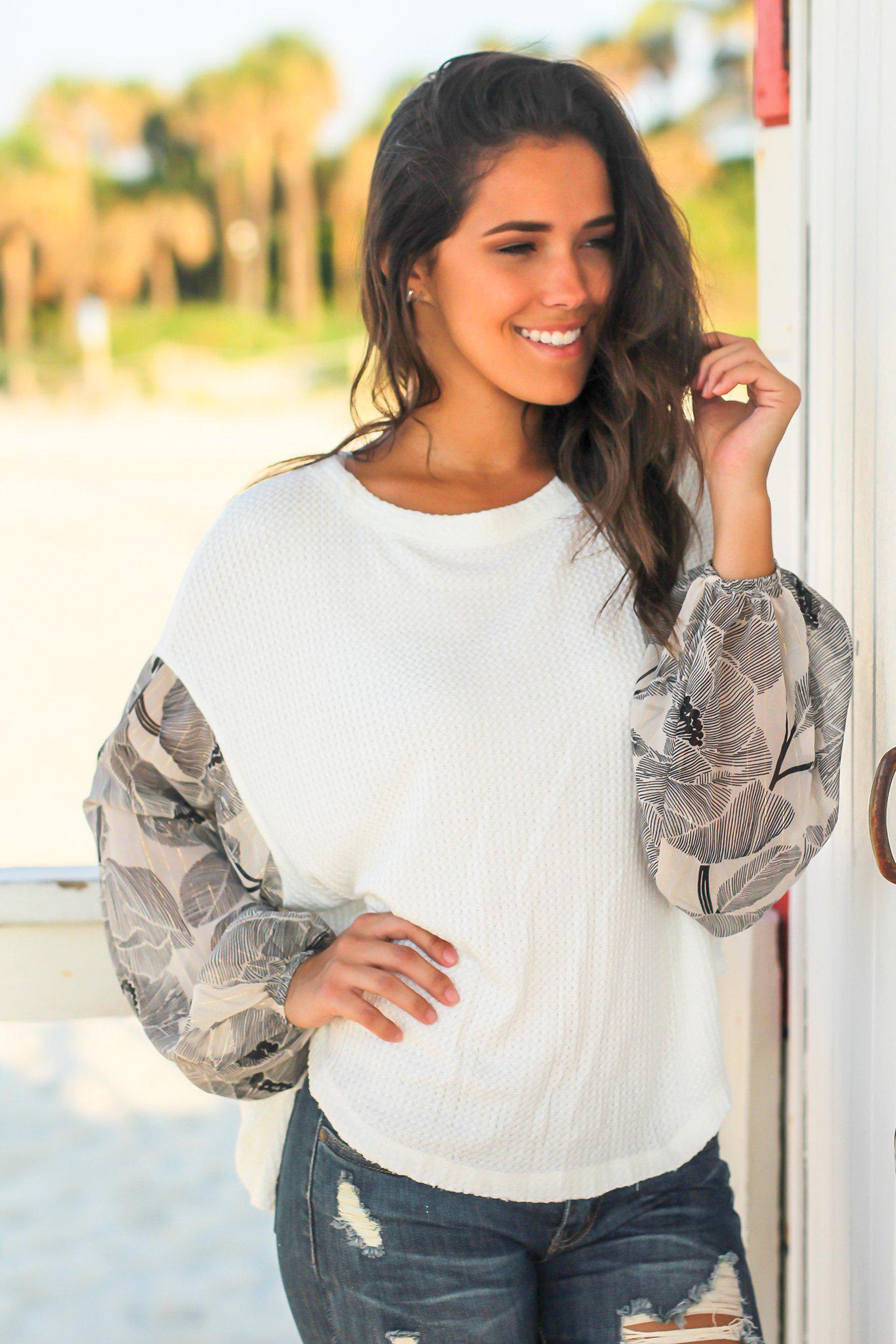 White Knit Top with Printed Sleeves