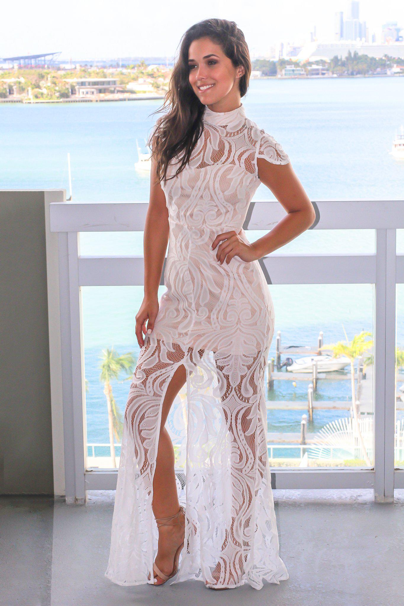 White Lace High Neck Maxi Dress
