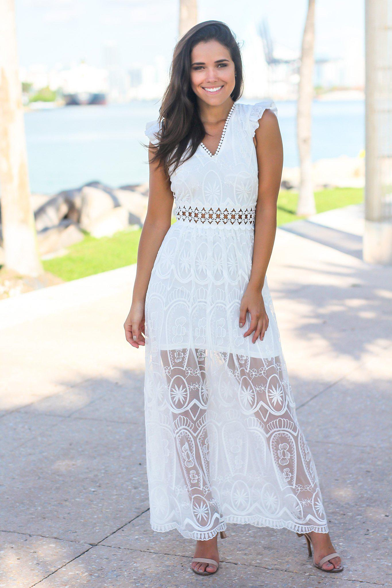 White Lace Maxi Dress with Crochet Back