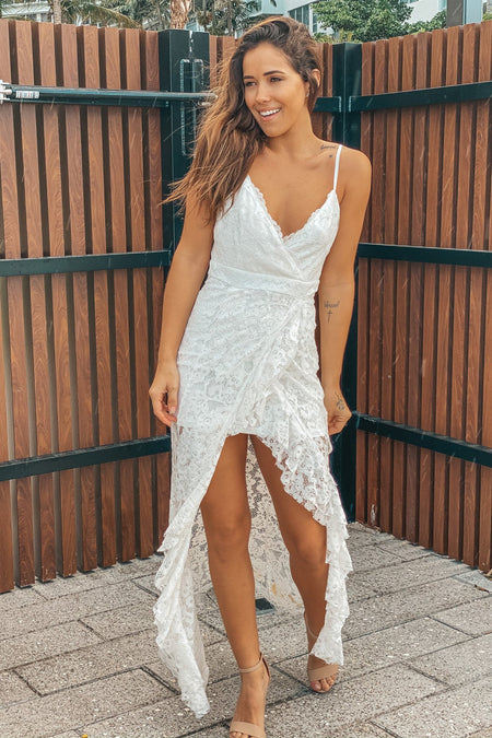 White Lace Maxi Dress with Ruffle Detail