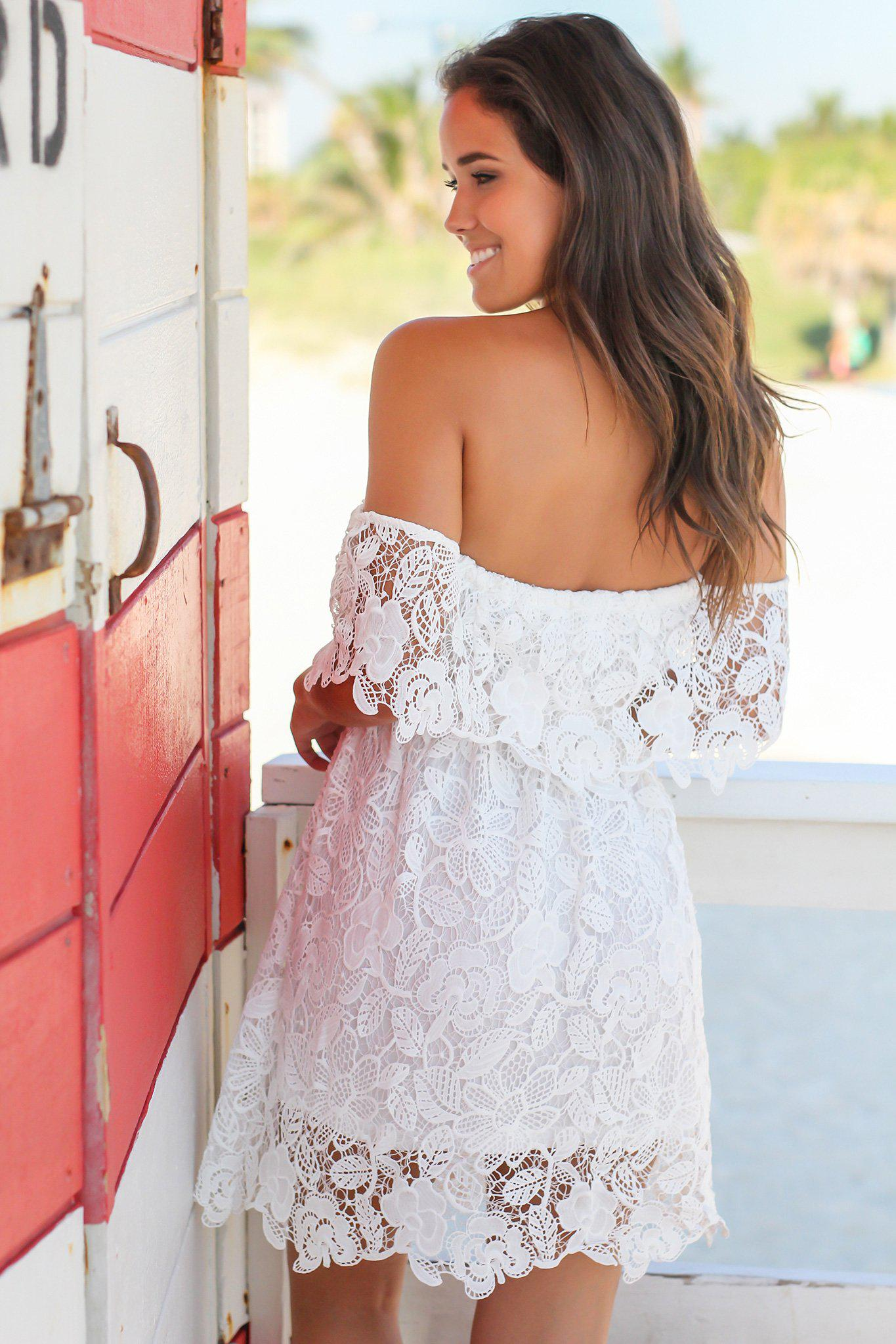 White Lace Off Shoulder Short Dress