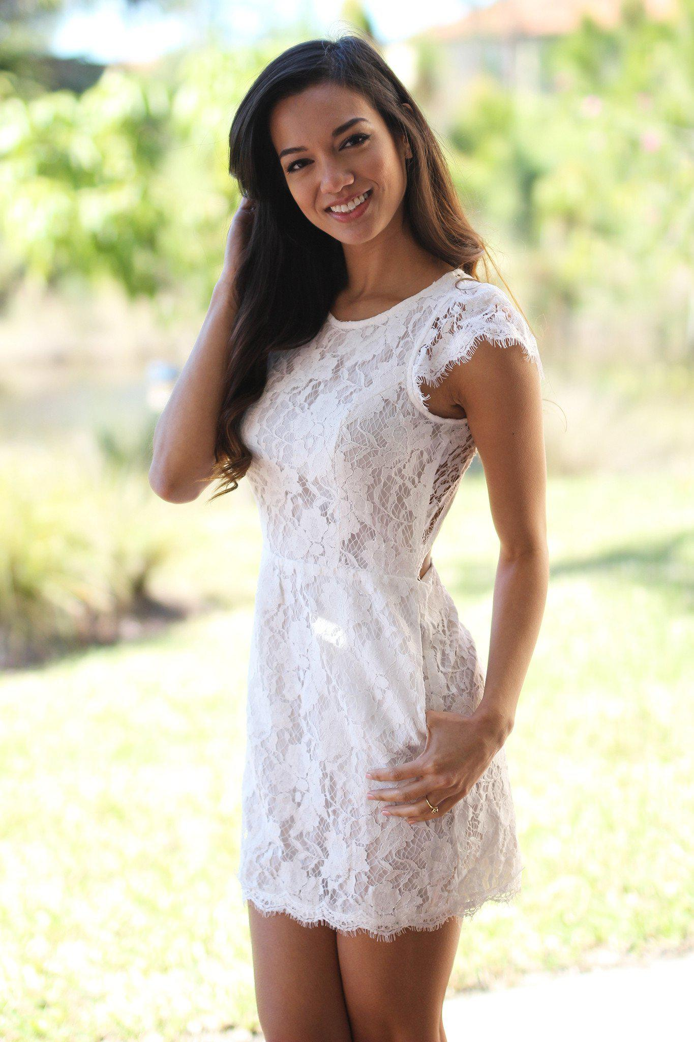 White Lace Dress with Pockets