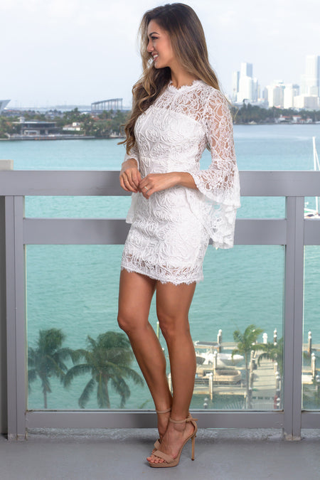 White Lace Short Dress with Bell Sleeves