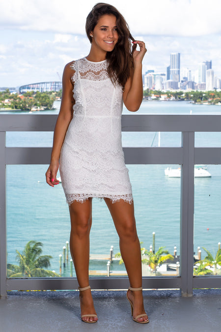 White Lace Sleeveless Short Dress with Open Back