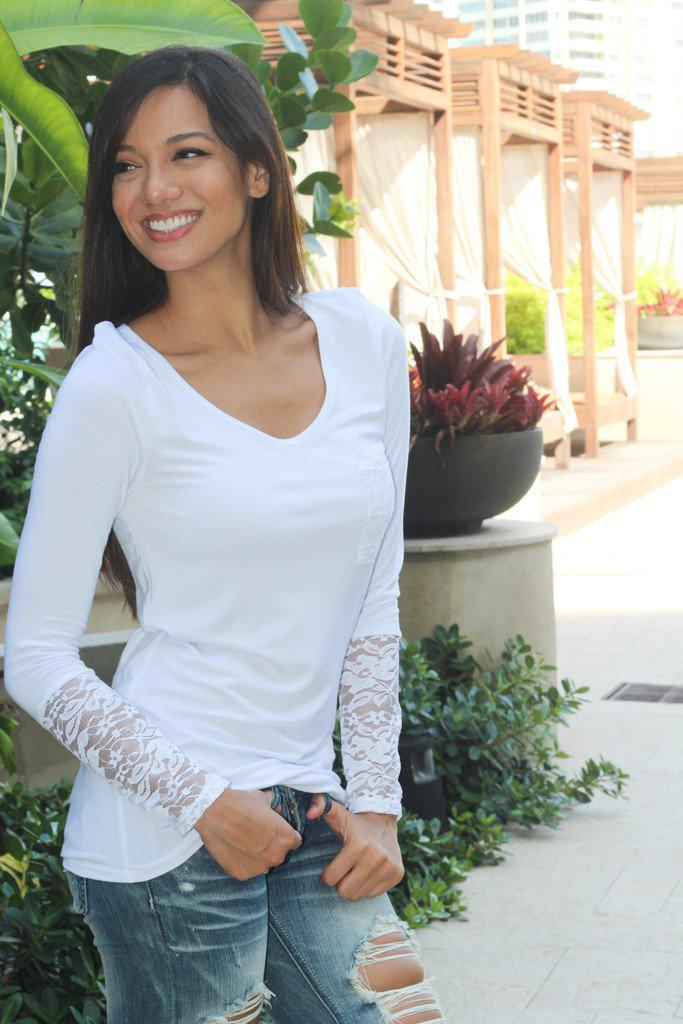 Solid White Lace Sleeve Top