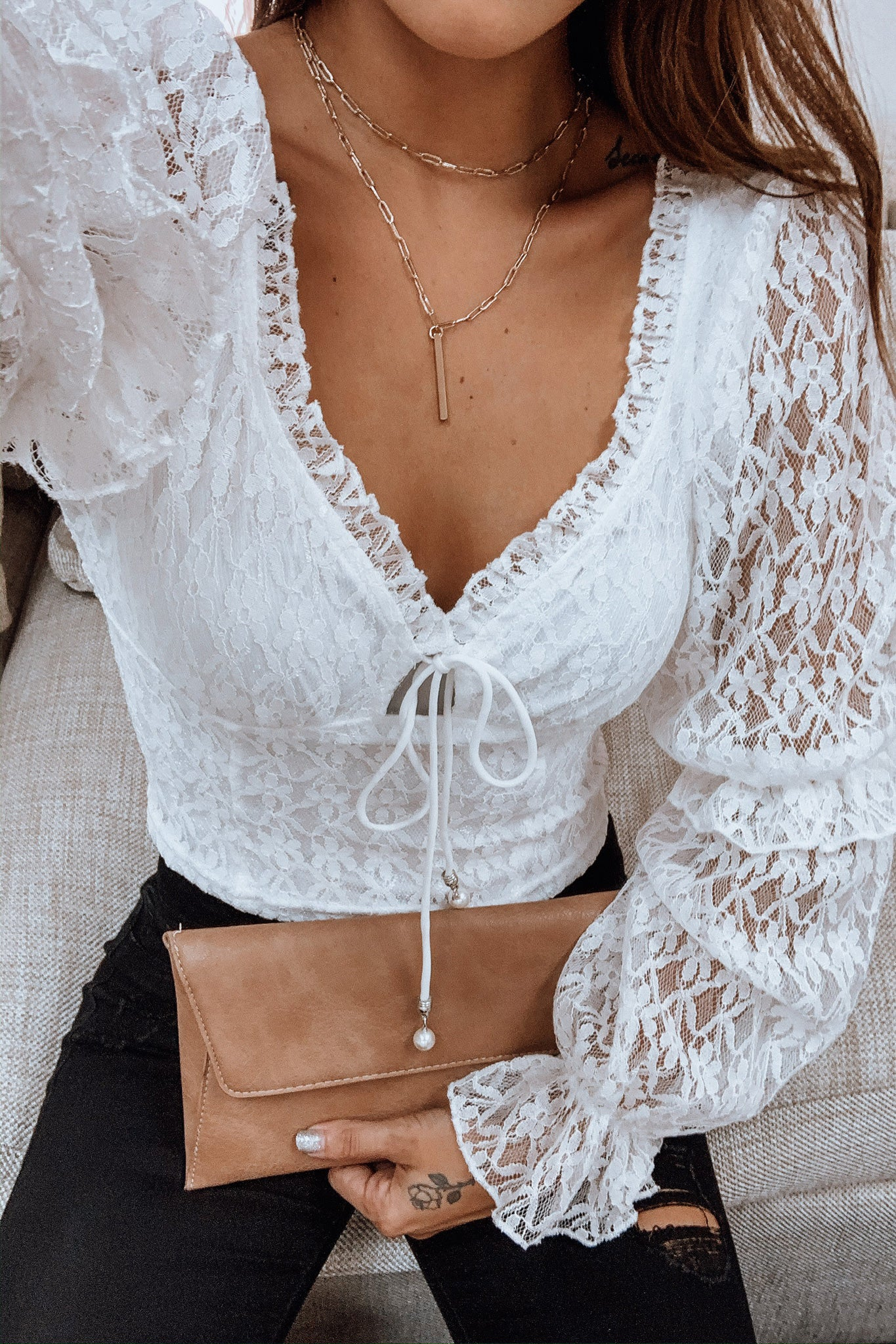 White Lace Top with Puffed Sleeves