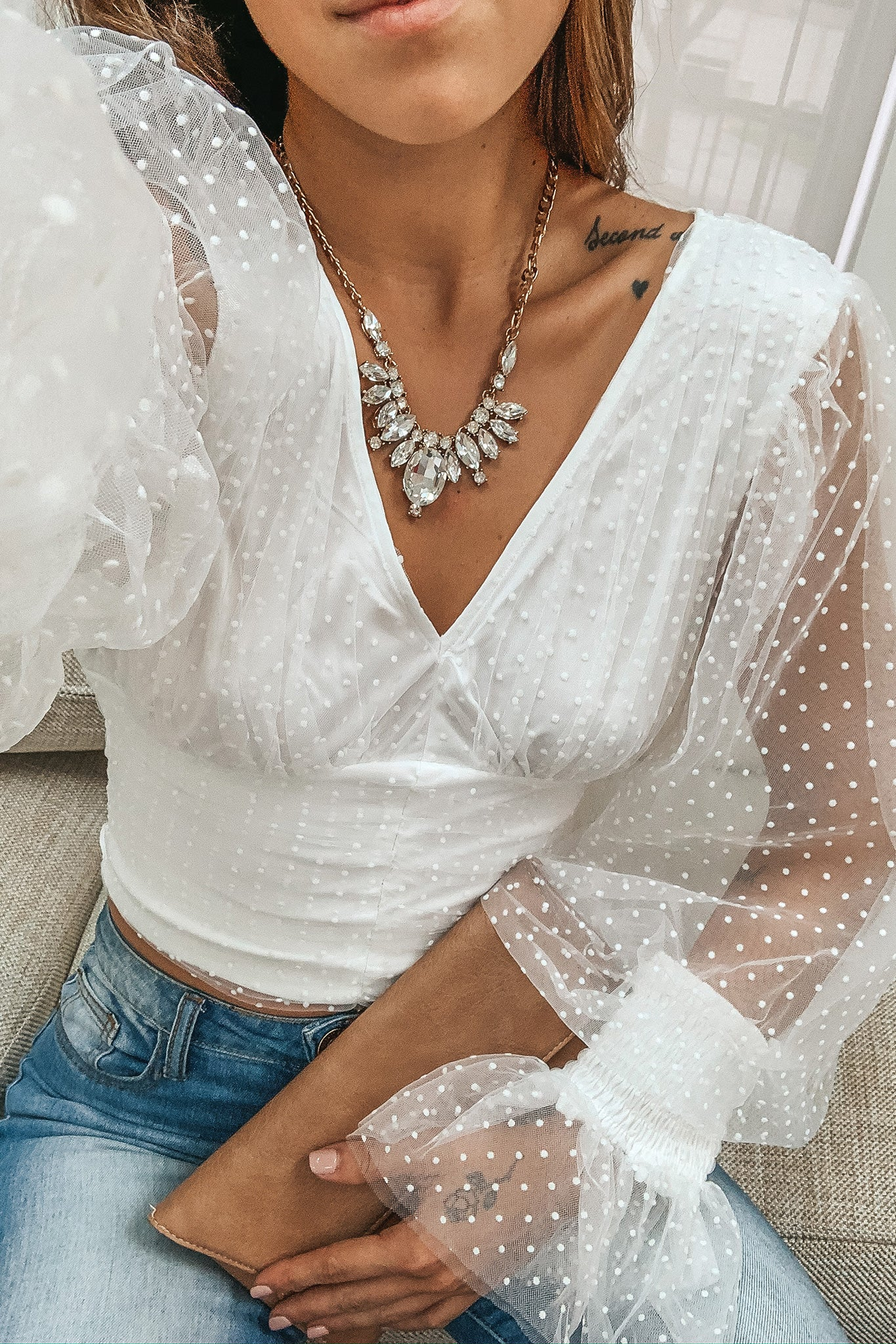 White Long Sleeve Top with Puff Sleeves
