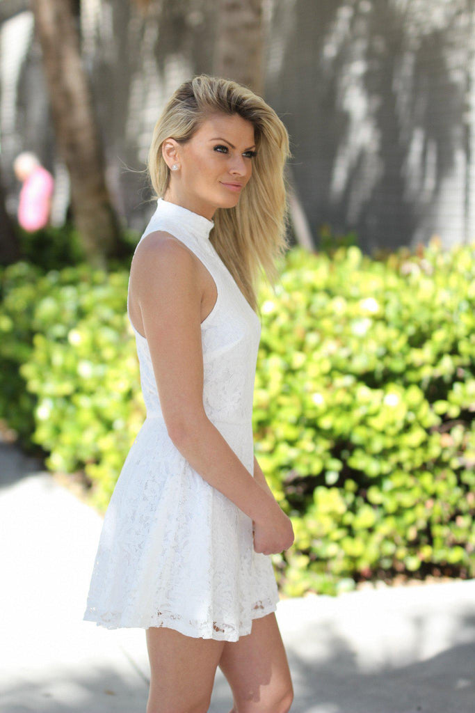 lace white short dress