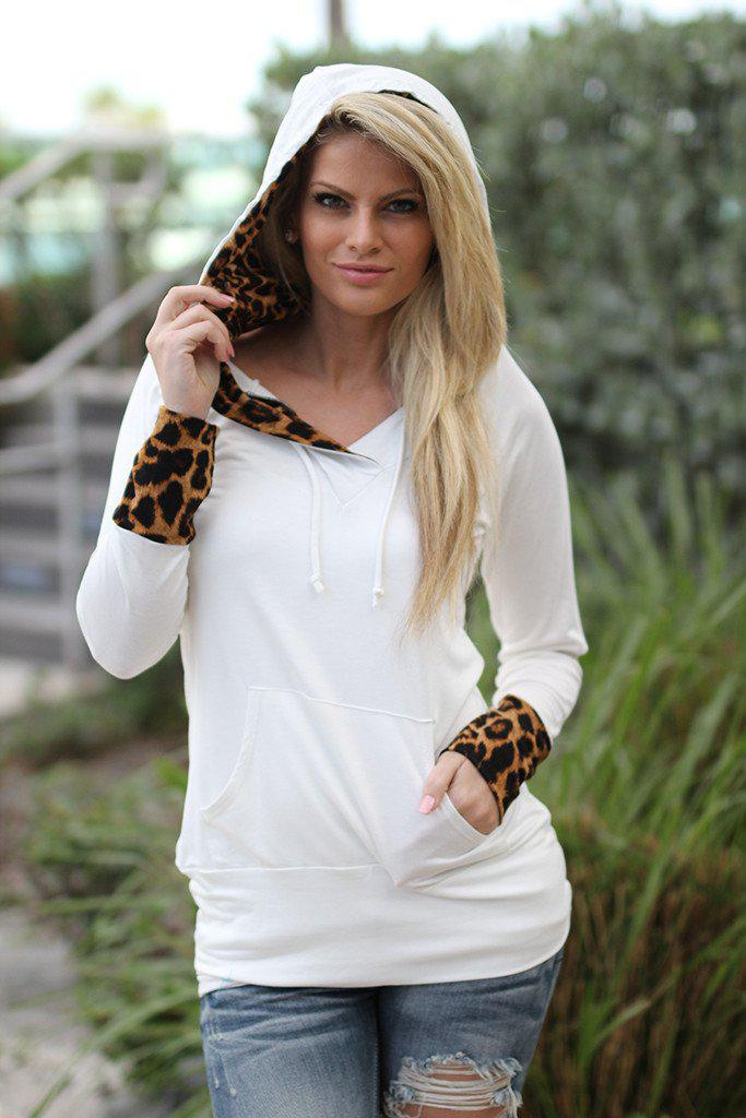 White Leopard Hoodie with Pocket