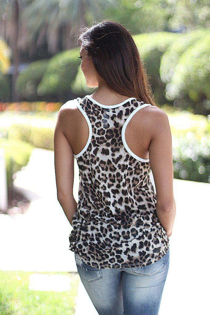 White Tunic Top With Leopard Back