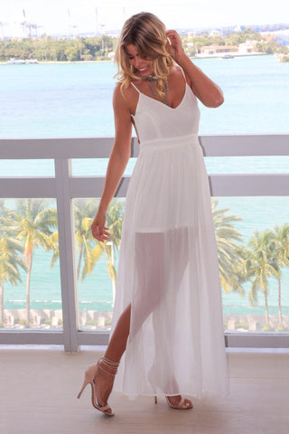 White Maxi Dress with Open Back and Side Slit
