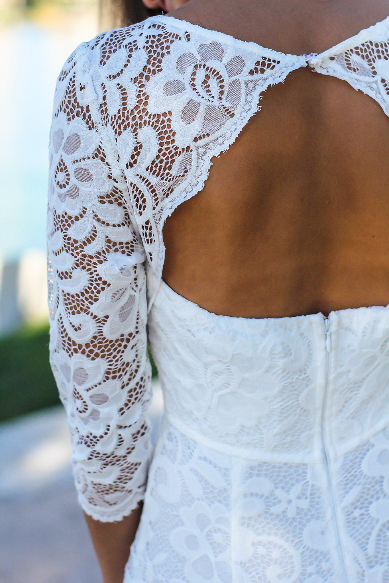 White Maxi Dress with 3/4 Sleeves