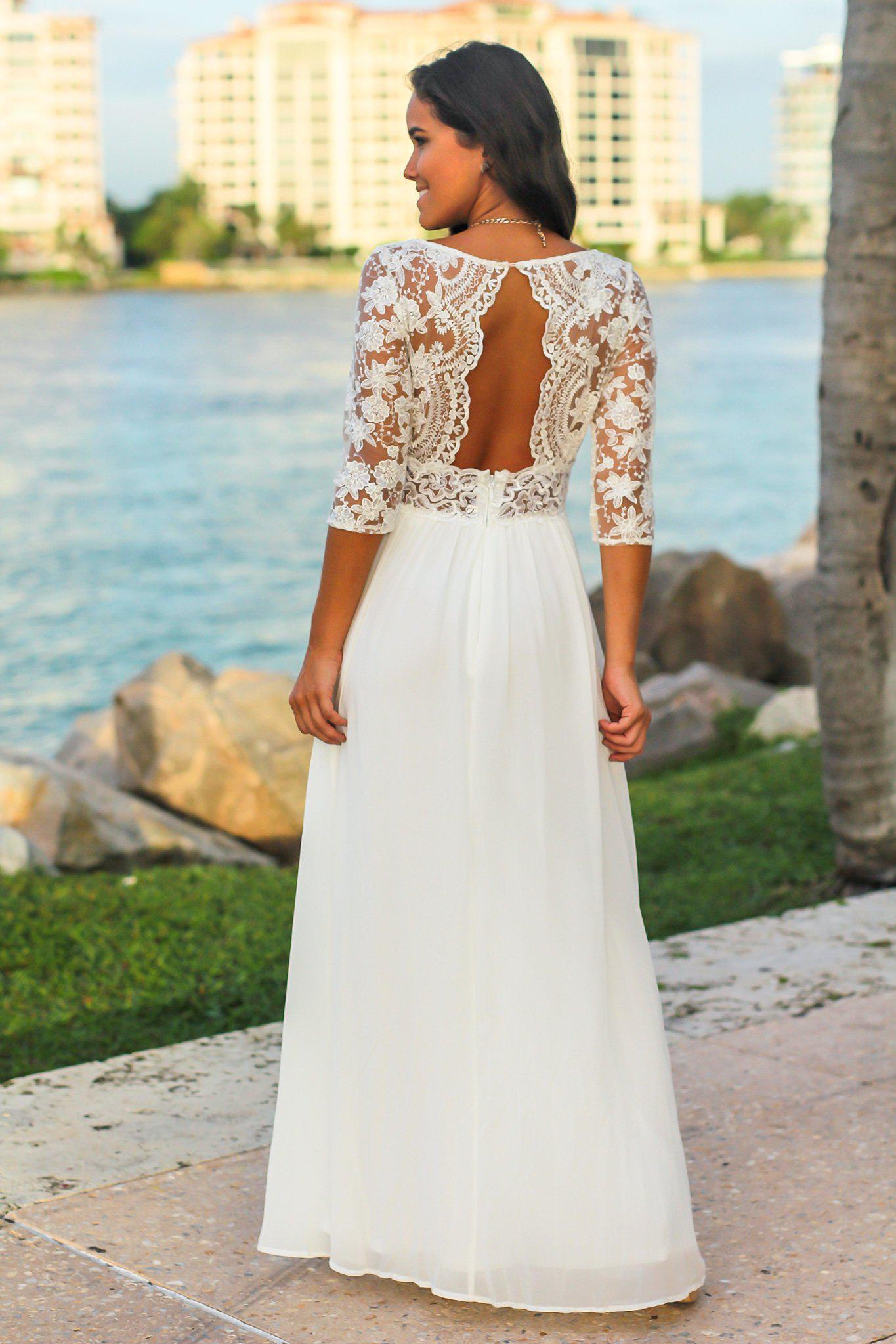 White Maxi Dress with Embroidered Top and Open Back