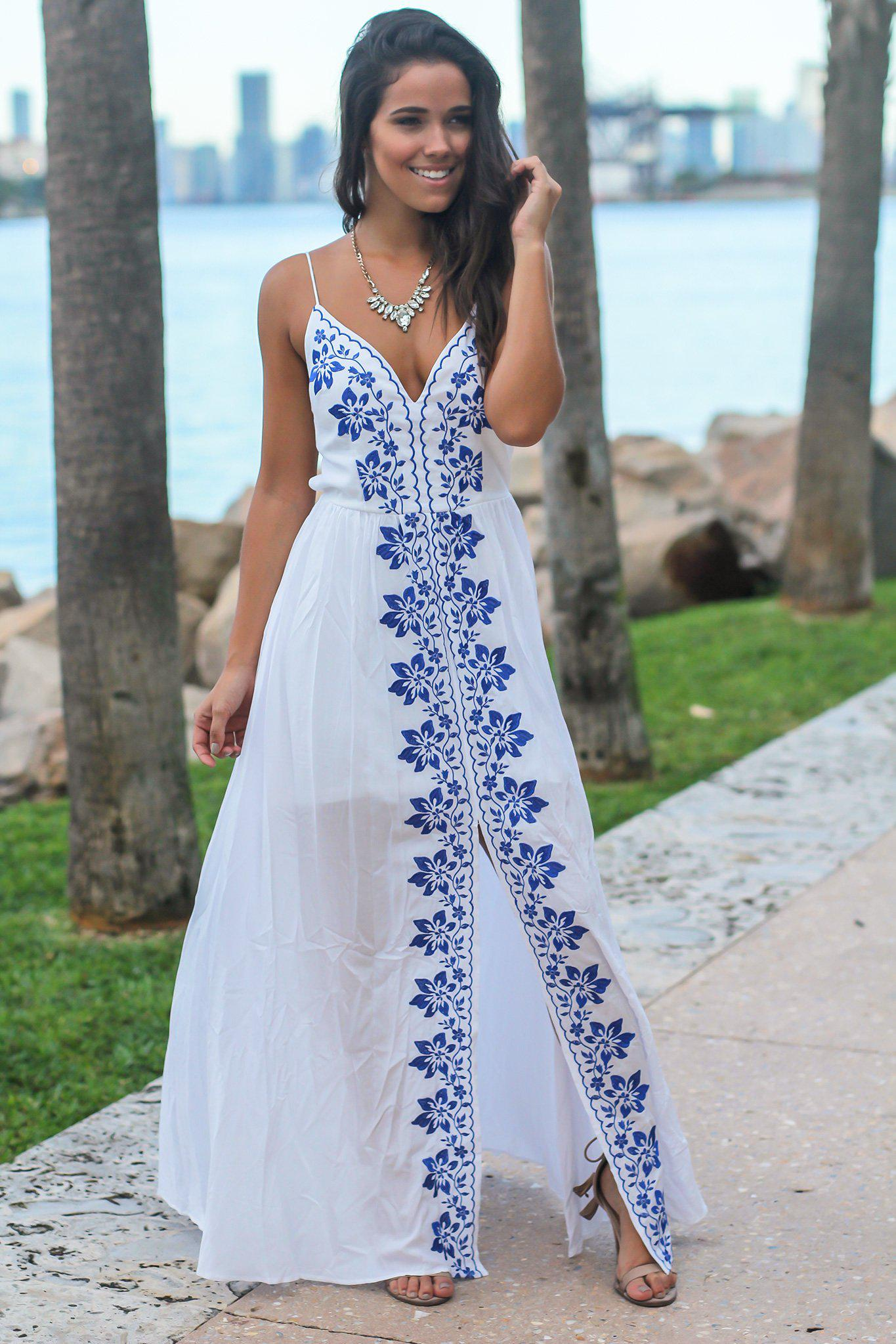 White Maxi Dress with Floral Embroidery