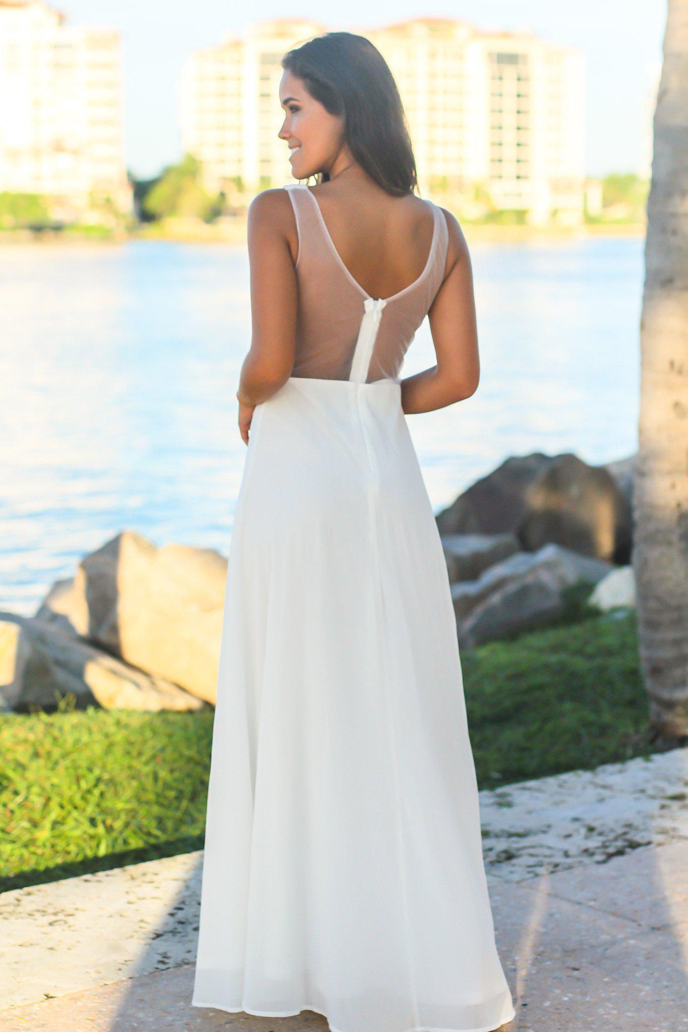 White Maxi Dress with Mesh and Embroidered Detail