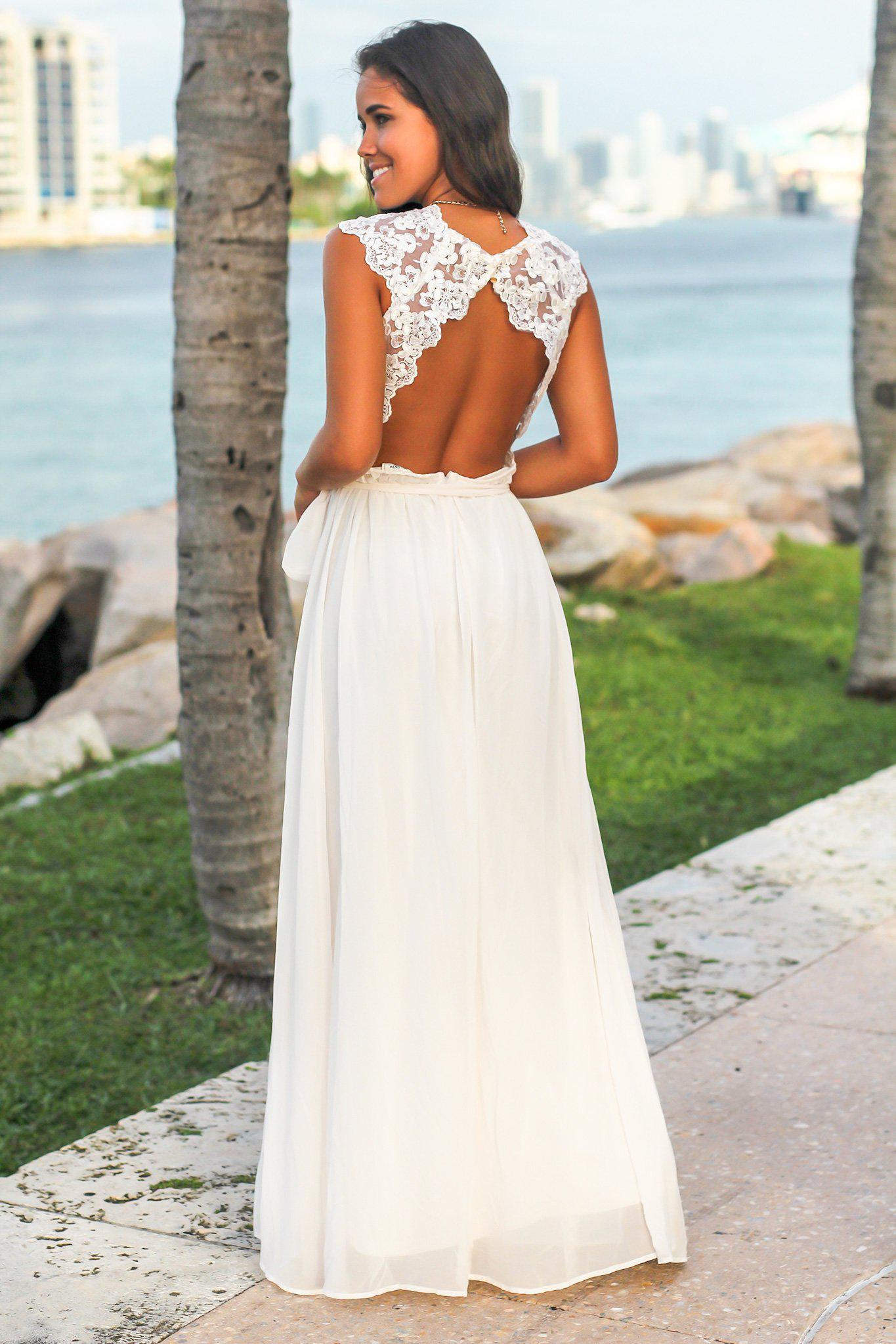 White Maxi Dress with Open Embroidered Back Detail