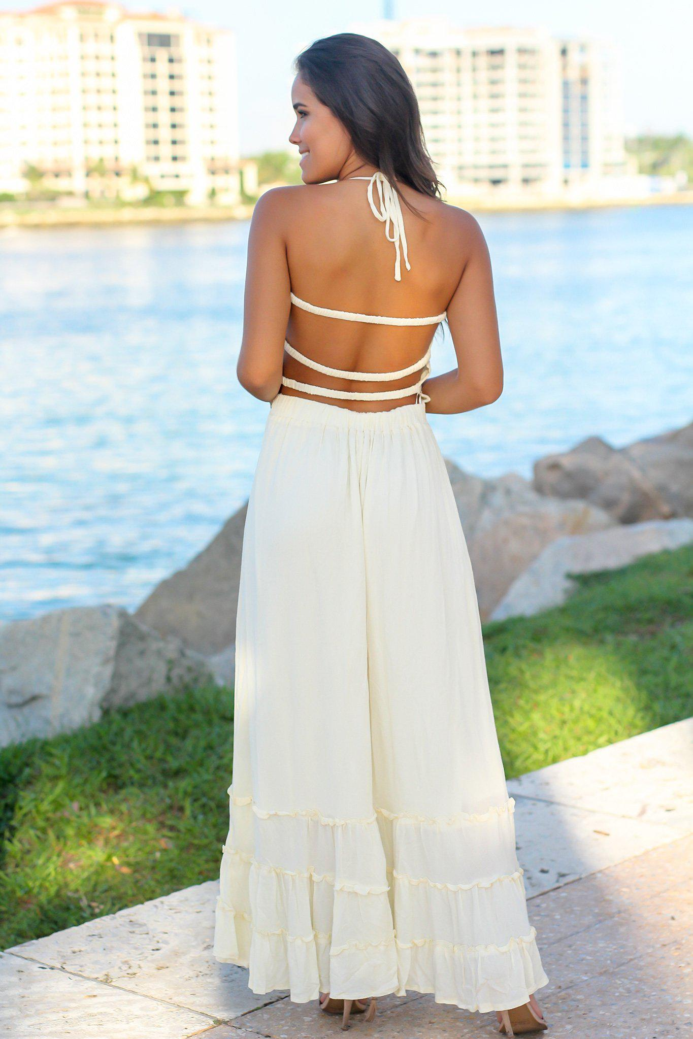 White Maxi Dress with Strappy Back