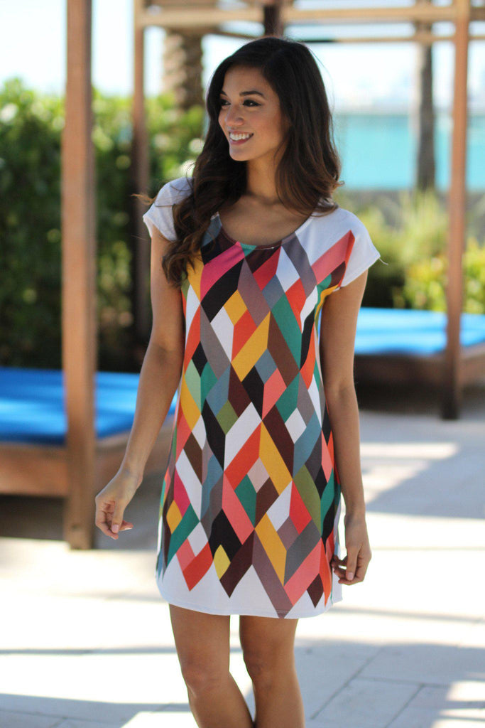 white multi color short dress