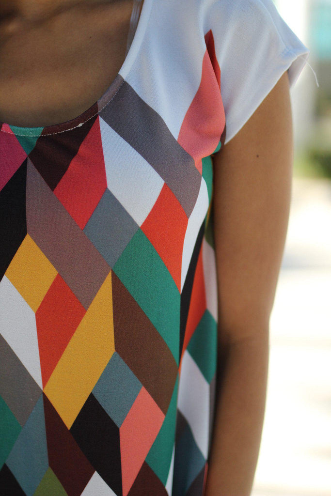 multi color printed dress