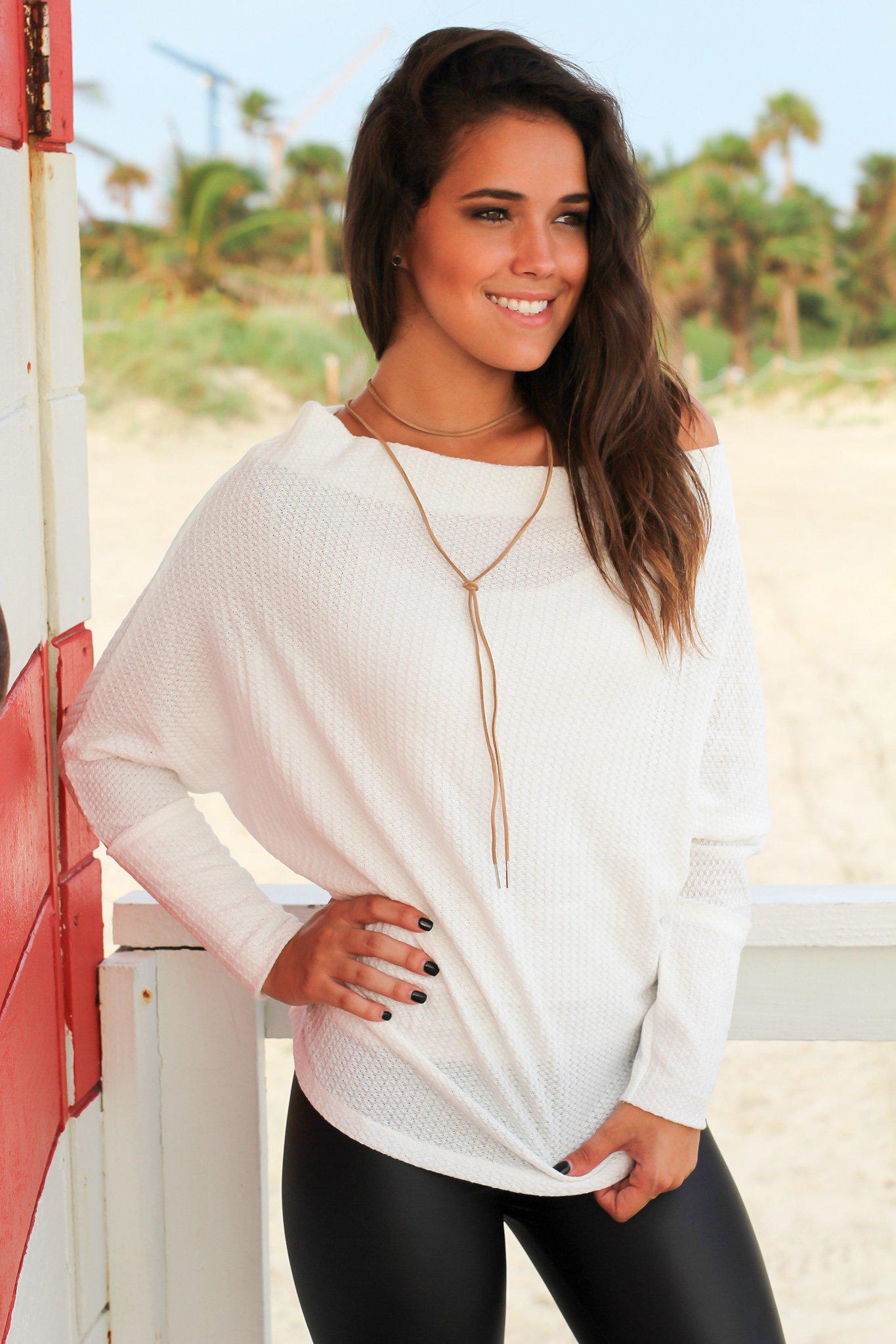 White Off Shoulder Knit Top